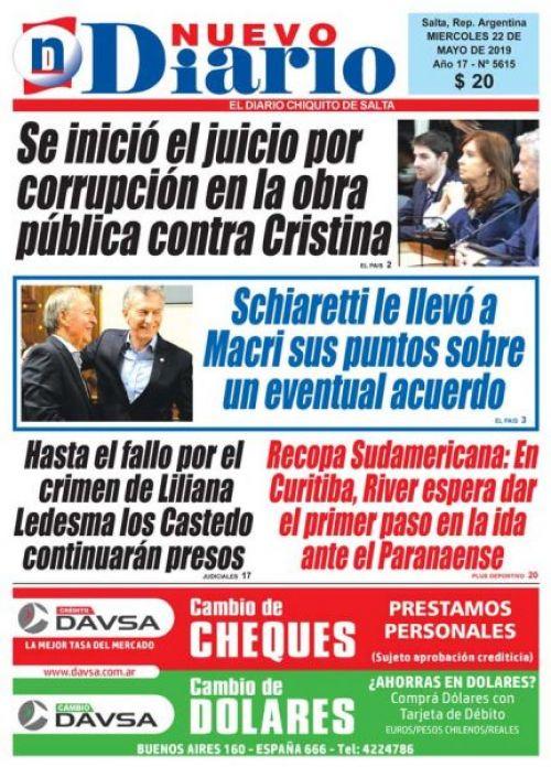 Tapa del 22/05/2019 Nuevo Diario de Salta
