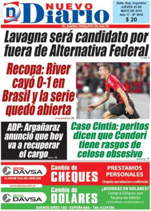 Tapa del 23/05/2019 Nuevo Diario de Salta
