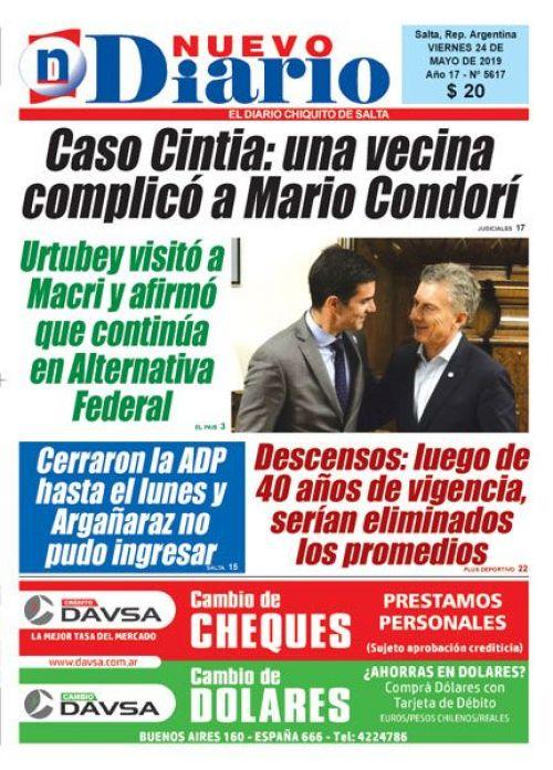 Tapa del 24/05/2019 Nuevo Diario de Salta