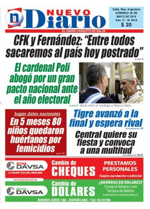 Tapa del 26/05/2019 Nuevo Diario de Salta