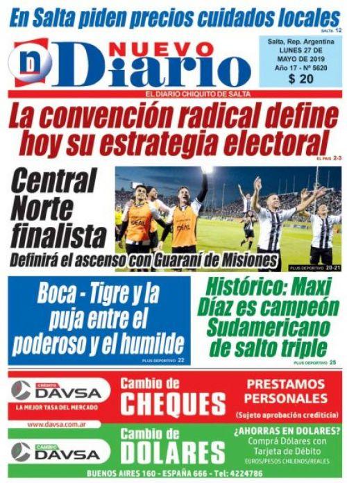 Tapa del 27/05/2019 Nuevo Diario de Salta