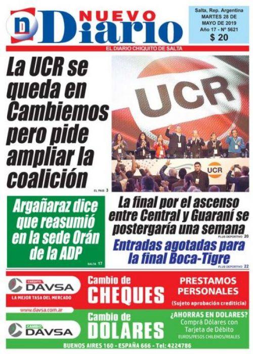 Tapa del 28/05/2019 Nuevo Diario de Salta