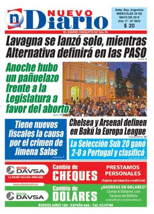 Tapa del 29/05/2019 Nuevo Diario de Salta