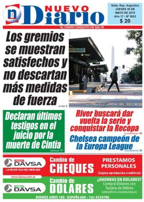 Tapa del 30/05/2019 Nuevo Diario de Salta