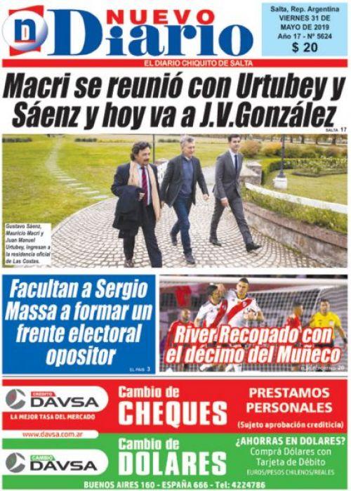 Tapa del 31/05/2019 Nuevo Diario de Salta
