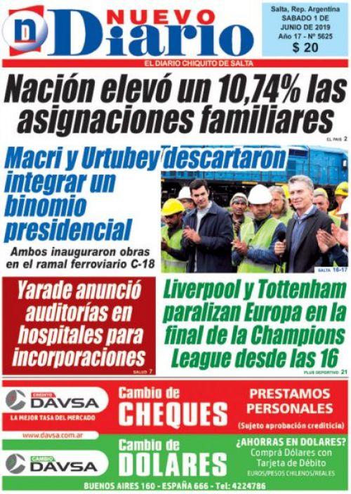 Tapa del 01/06/2019 Nuevo Diario de Salta