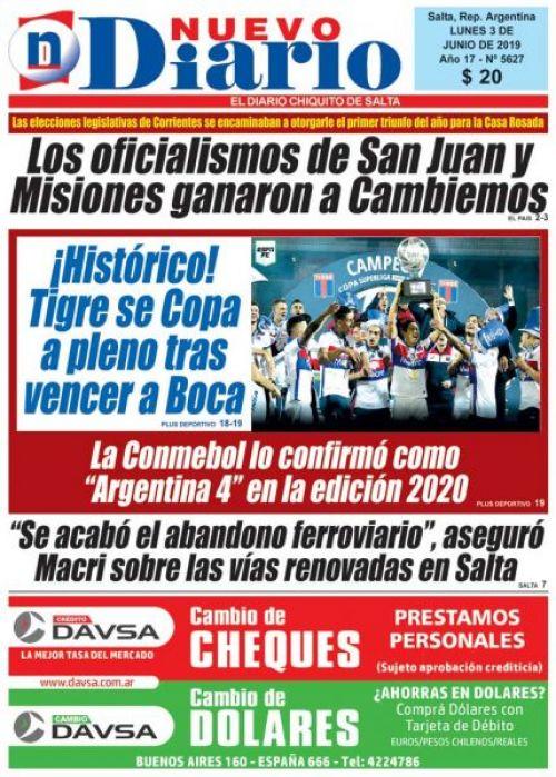 Tapa del 03/06/2019 Nuevo Diario de Salta