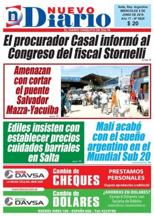 Tapa del 05/06/2019 Nuevo Diario de Salta