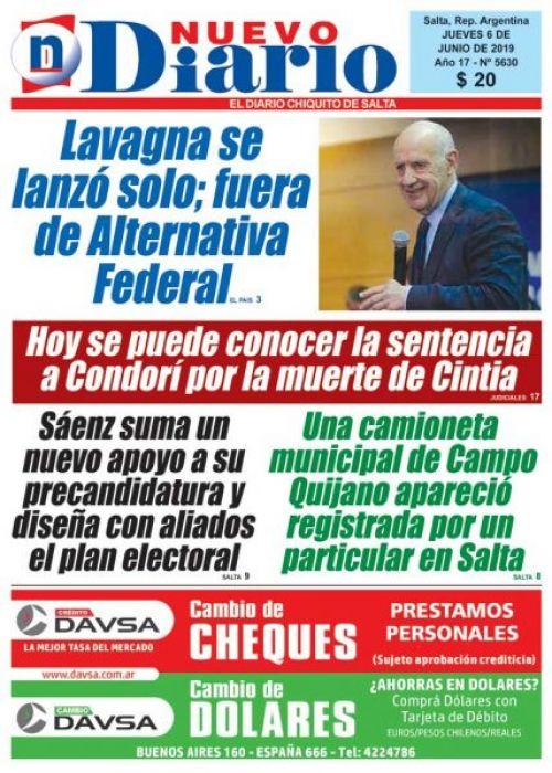 Tapa del 06/06/2019 Nuevo Diario de Salta