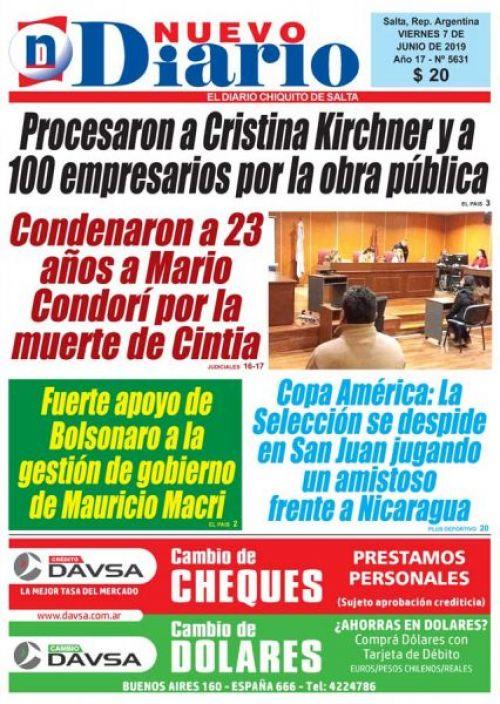 Tapa del 07/06/2019 Nuevo Diario de Salta
