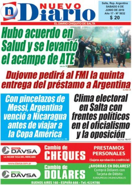 Tapa del 08/06/2019 Nuevo Diario de Salta