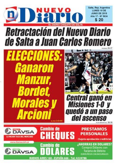 Tapa del 10/06/2019 Nuevo Diario de Salta