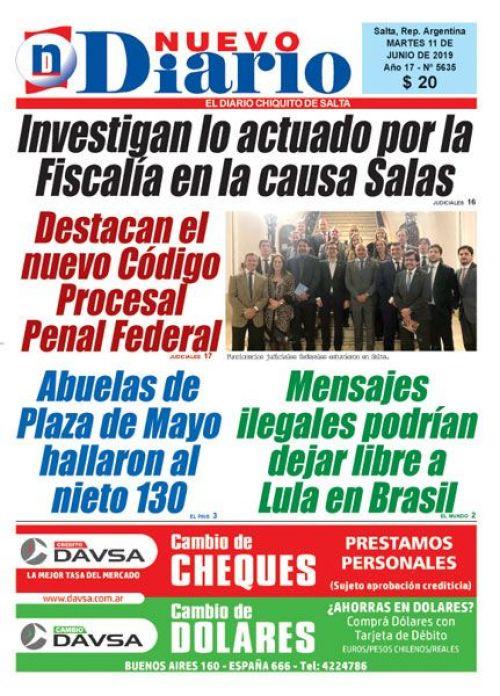 Tapa del 11/06/2019 Nuevo Diario de Salta