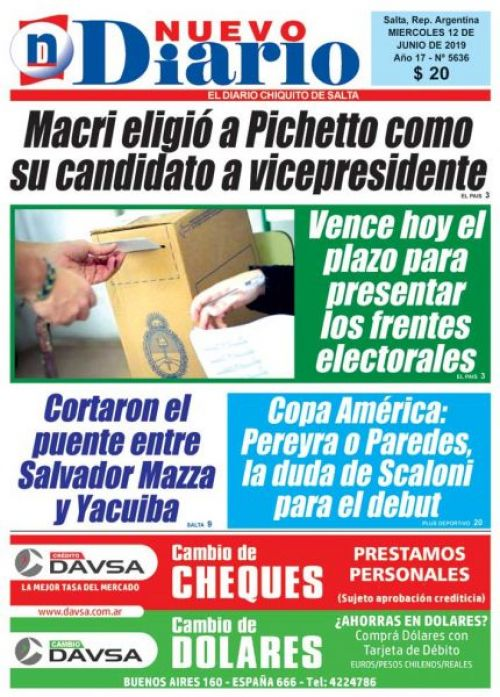 Tapa del 12/06/2019 Nuevo Diario de Salta