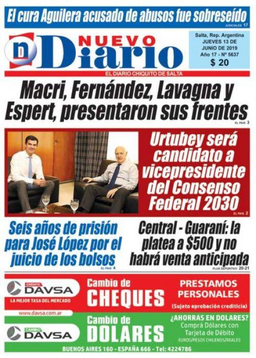 Tapa del 13/06/2019 Nuevo Diario de Salta