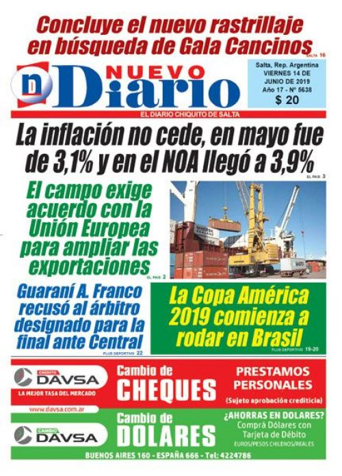Tapa del 14/06/2019 Nuevo Diario de Salta