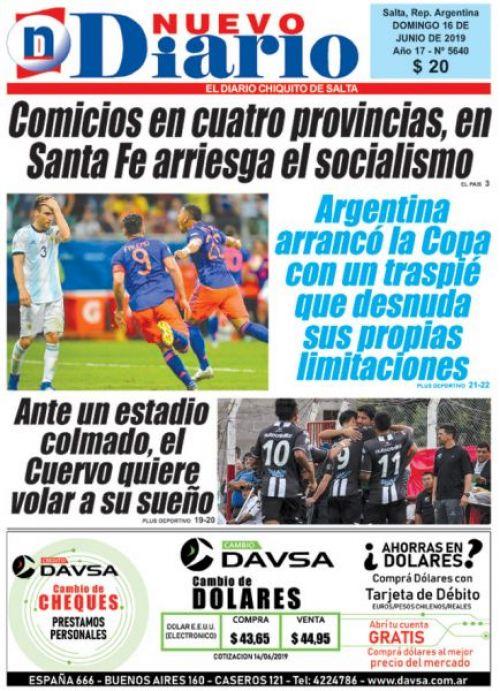 Tapa del 16/06/2019 Nuevo Diario de Salta