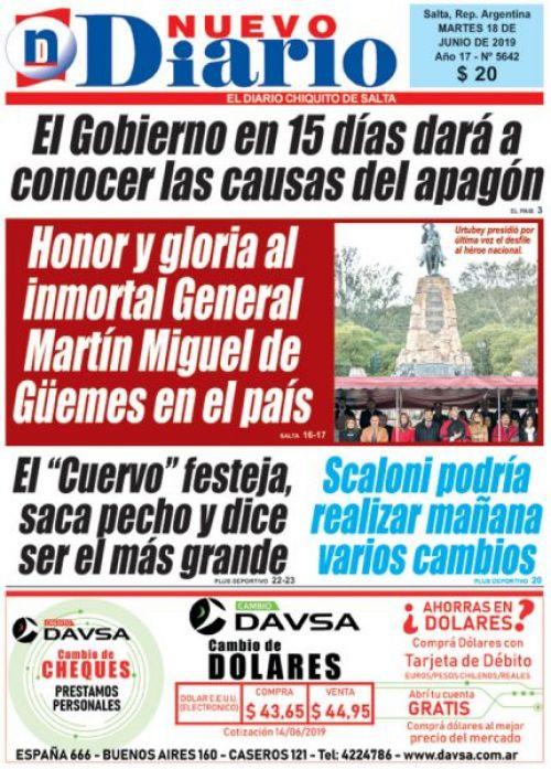 Tapa del 18/06/2019 Nuevo Diario de Salta
