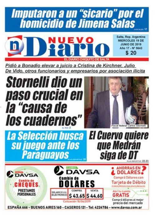 Tapa del 19/06/2019 Nuevo Diario de Salta