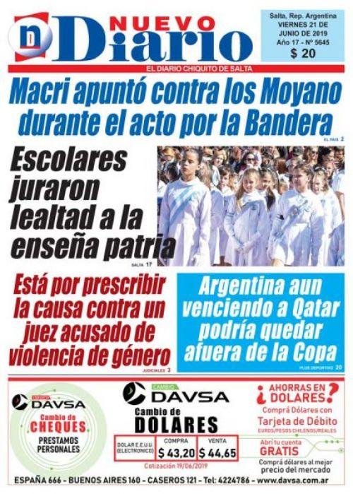 Tapa del 21/06/2019 Nuevo Diario de Salta