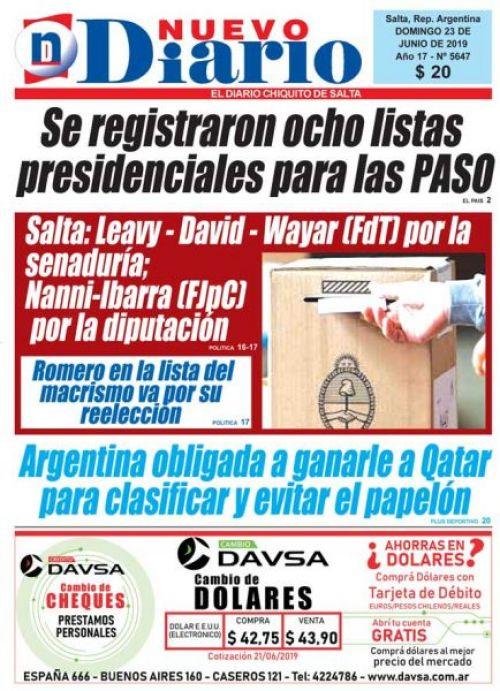 Tapa del 23/06/2019 Nuevo Diario de Salta
