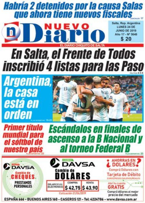 Tapa del 24/06/2019 Nuevo Diario de Salta