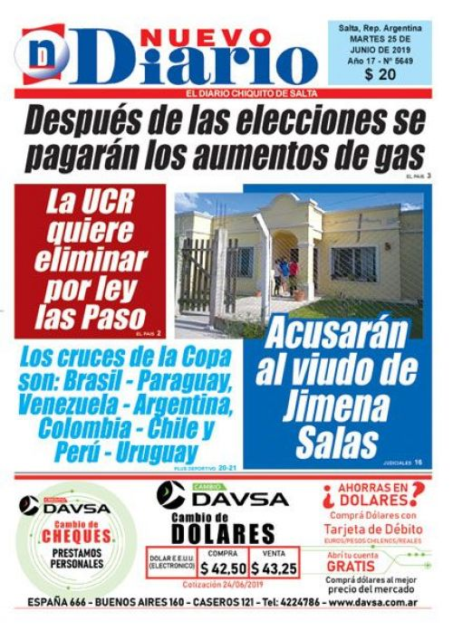 Tapa del 25/06/2019 Nuevo Diario de Salta