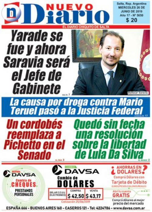 Tapa del 26/06/2019 Nuevo Diario de Salta
