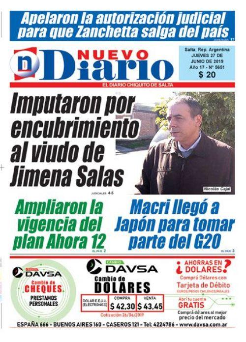 Tapa del 27/06/2019 Nuevo Diario de Salta