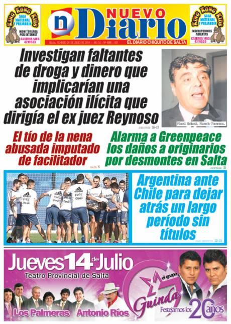 Tapa del 26/06/2016 Nuevo Diario de Salta