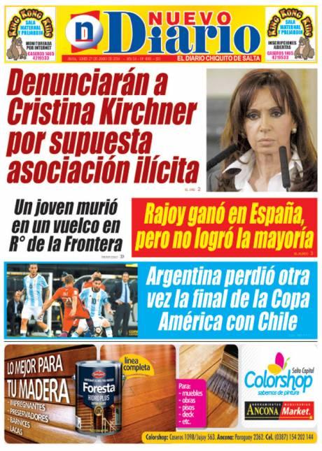 Tapa del 27/06/2016 Nuevo Diario de Salta